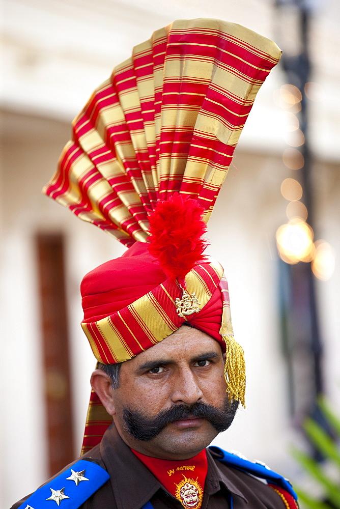 Ceremonial guard Jai Mewar of 76th Maharana of Mewar, His Highness, Shriji Arvind Singh Mewar of Udaipur, at the City Palace, Rajasthan, India