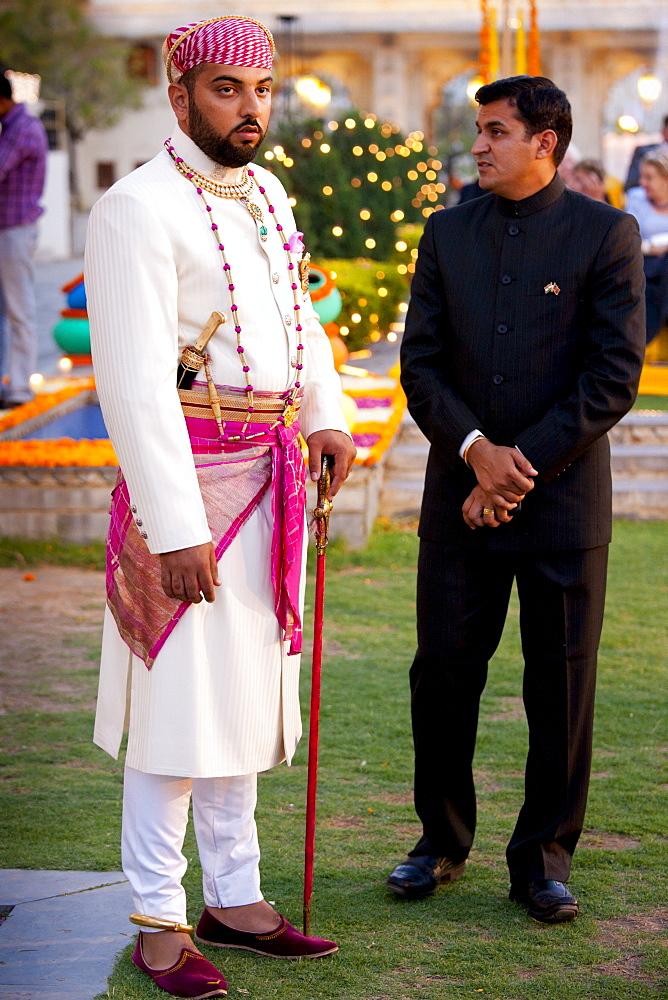 Lakshaya Raj, son and heir of 76th Maharana of Mewar, Shriji Arvind Singh Mewar of Udaipur, at Holi Festival at the City Palace, Rajasthan, India