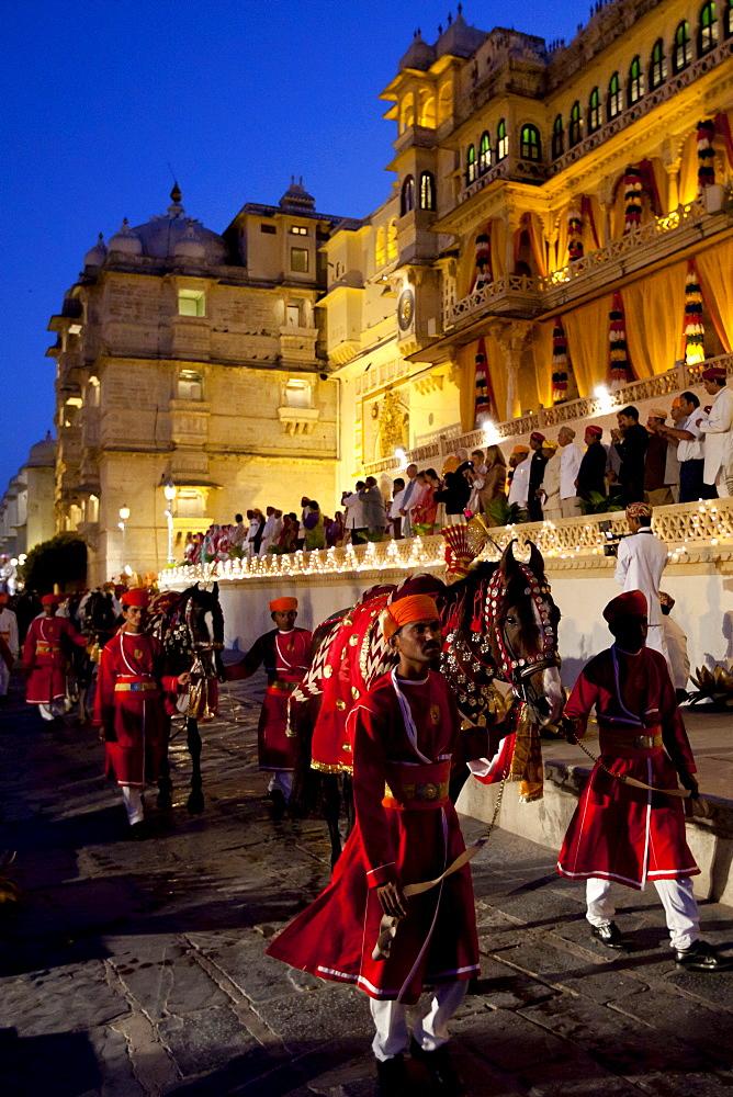 Ceremonial parade of 76th Maharana of Mewar, Shriji Arvind Singh Mewar of Udaipur, at Holi Fire Festival, City Palace, Rajasthan, India