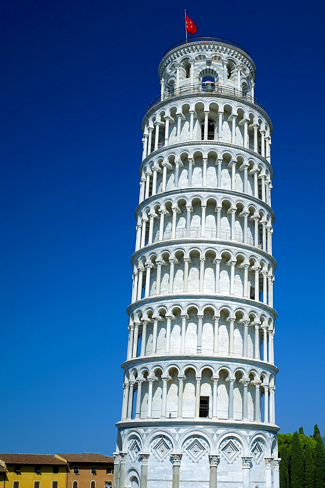 The Leaning Tower of Pisa, Torre pendente di Pisa, campanile freestanding bell tower of the Cathedral of Pisa, Italy