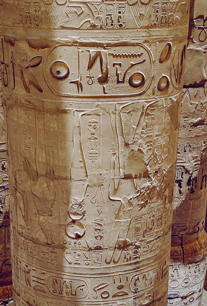 Inscriptions on a column in the Great Hypostyle Hall in Karnak Temple Cairo, Egypt