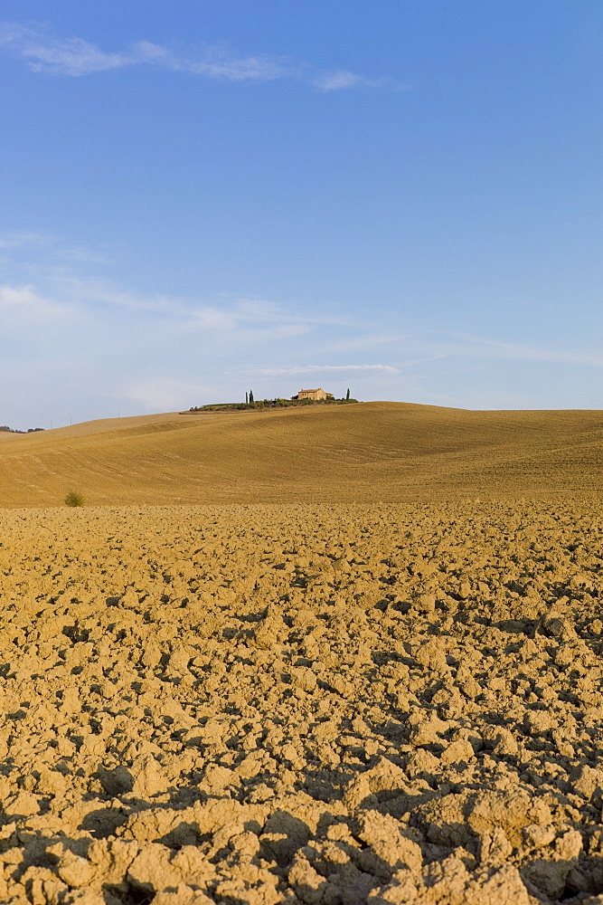 Typical Tuscan parched landscape near Pienza in Val D'Orcia, Tuscany, Italy