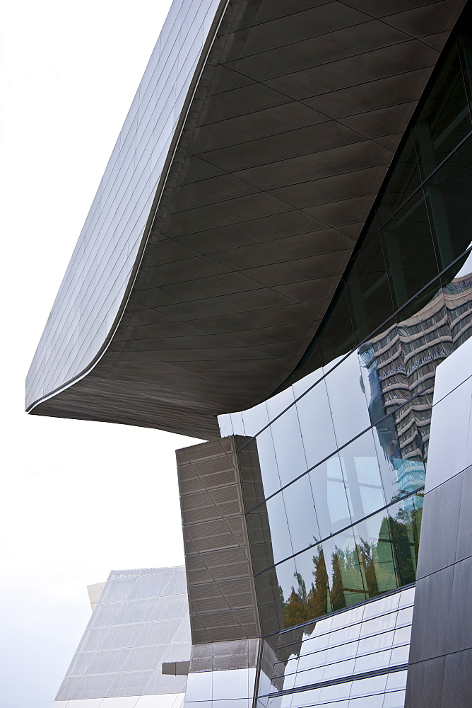 Modern architecture at the BMW Headquarters office blocks, showroom and customer collection centre in Munich, Bavaria, Germany