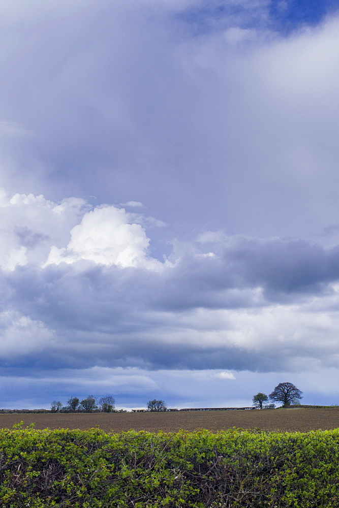 Storm clouds in cloud formation above ploughed field in springtime in Swinbrook in the Cotswolds, Oxfordshire, UK