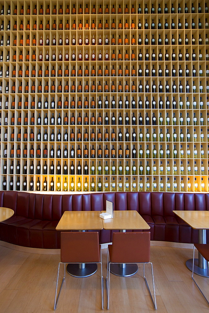 The stylish bar in the Hotel Marques de Riscal designed by architect Frank O Gehry, at Elciego in Rioja-Alavesa area of Spain
