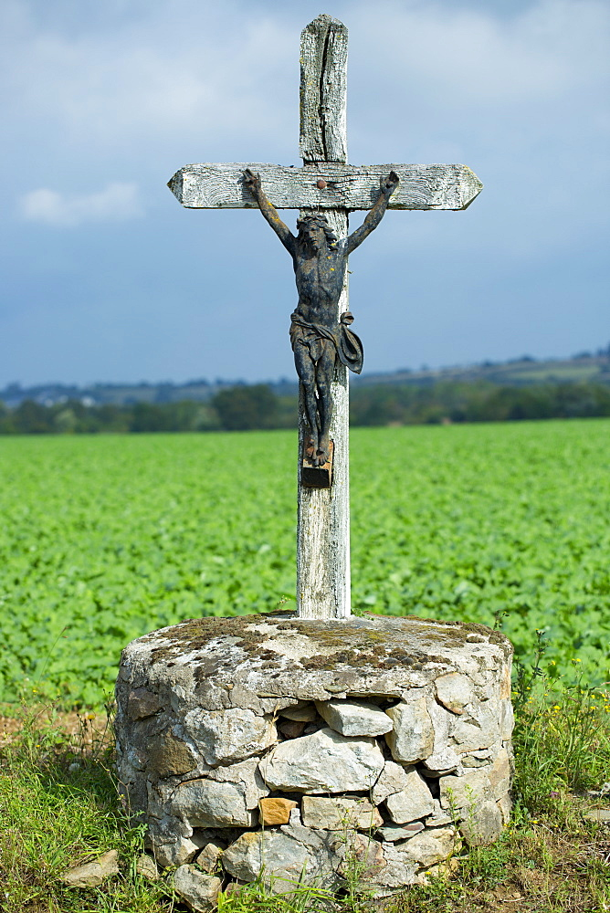 Crucifix of Jesus Christ on a cross at Chemire-Sur-Sarthe, France