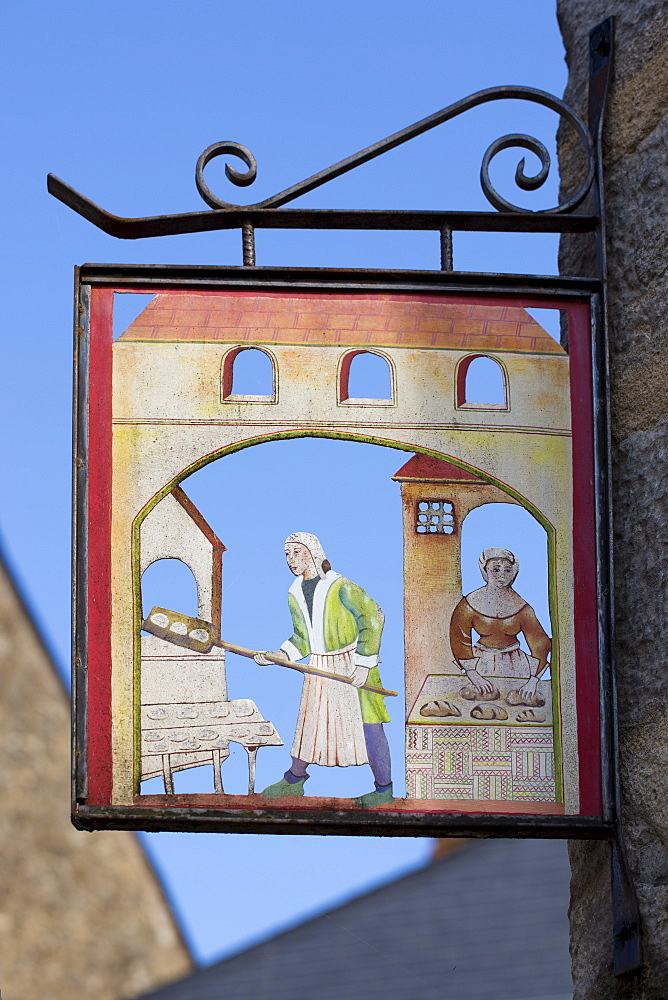 Traditional sign for boulangerie bakery shop in Parce-Sur-Sarthe, France