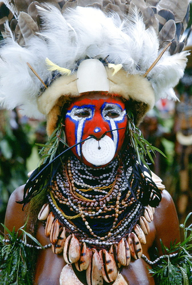 Tribesman wearing war paints and feathered headdress during  a gathering of tribes at Mount Hagen in Papua New Guinea