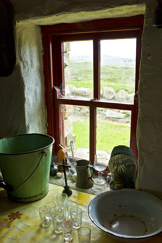 Historic monument cottage of Dan O'Hara, evicted by the British and forced to emigrate, Connemara, County Galway, Ireland