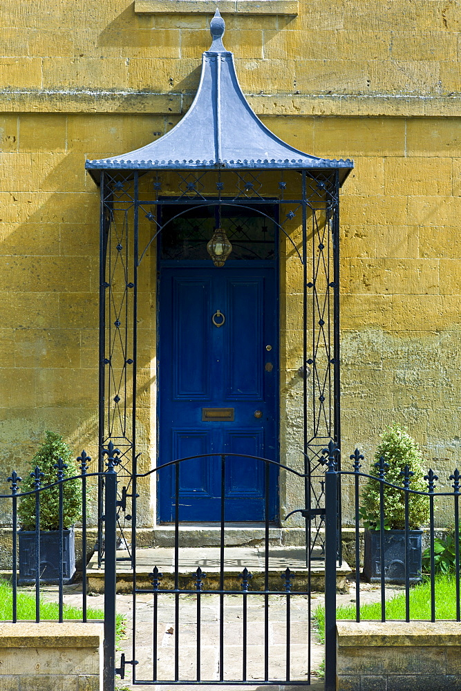 Elegant Georgian Doorway of period house in The Cotswolds at Blockley in Gloucestershire, UK