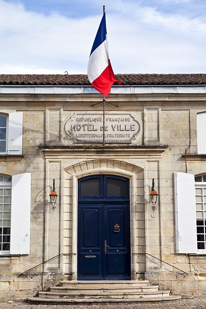 French flag at Town Hall, Hotel de Ville, in St Emilion, Bordeaux, France