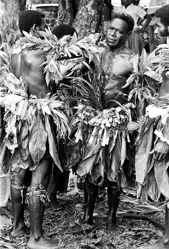 Native men at tribal gathering in Fiji, South Pacific