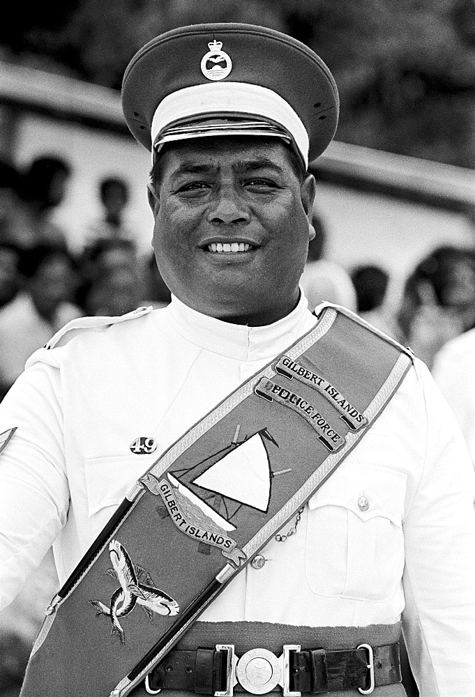 Soldier in traditional uniform in military parade in Kiribati, South Pacific