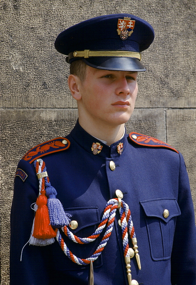 Military guard in ceremonial uniform at Prague Castle in Prague, Czech Republic, Czechoslovakia