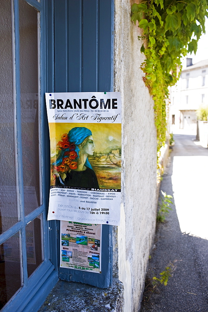 Advertising poster in Bourdeilles popular tourist destination near Brantome in Northern Dordogne, France