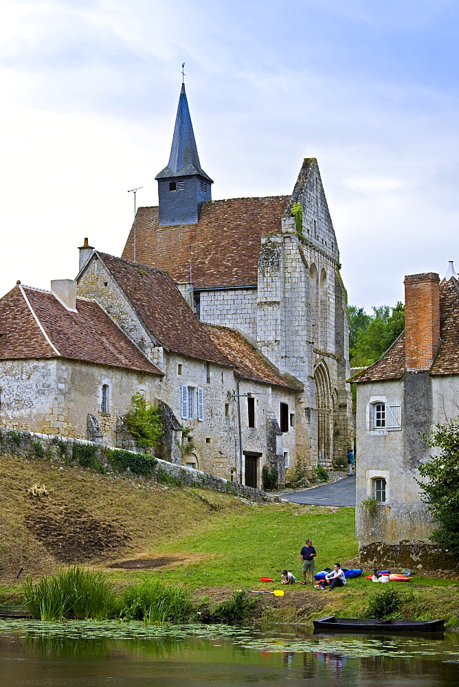 People with kayaks in traditional medieval village of Angles Sur L'Anglin, Vienne, near Poitiers, France