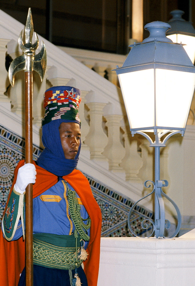 Ceremonial guard at the King's Palace in Rabat the capital city of Morocco, North Africa