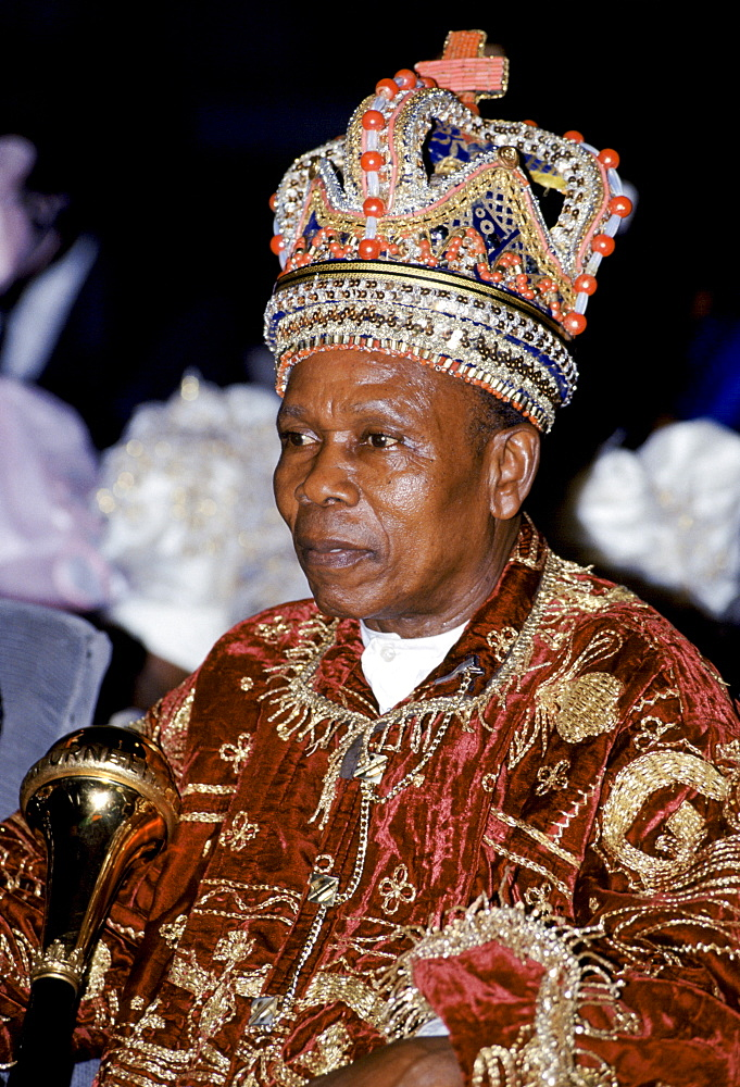 Nigerian chief wearing jewel crown at tribal gathering cultural event at Port Harcourt in Nigeria, West Africa