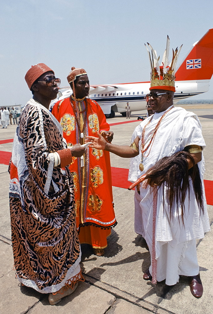 Nigerian chiefs at Maiduguri Airport in Nigeria, West Africa