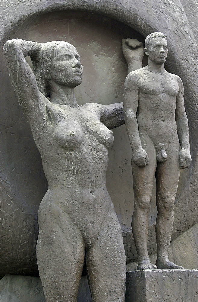 Naked man and woman of the Boat and Breaker war memorial at Akershus Castle, Oslo, Norway