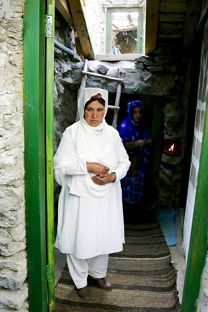 Women in their home in mountain village of Altit in Hunza region of Karokoram Mountains, Pakistan