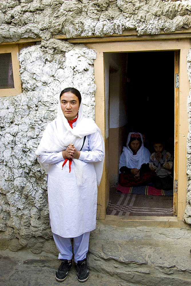 Women in her home in mountain village of Altit in Hunza region of Karokoram Mountains, Pakistan