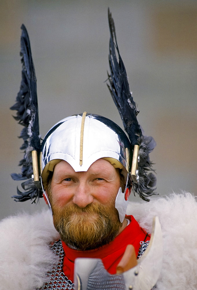 Shetland Islands man wearing viking costume for cultural display in the Shetland Isles