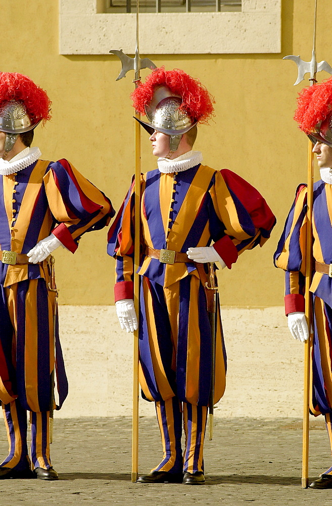 Swiss ceremonial guards in traditional striped uniforms at the Vatican, Vatican city