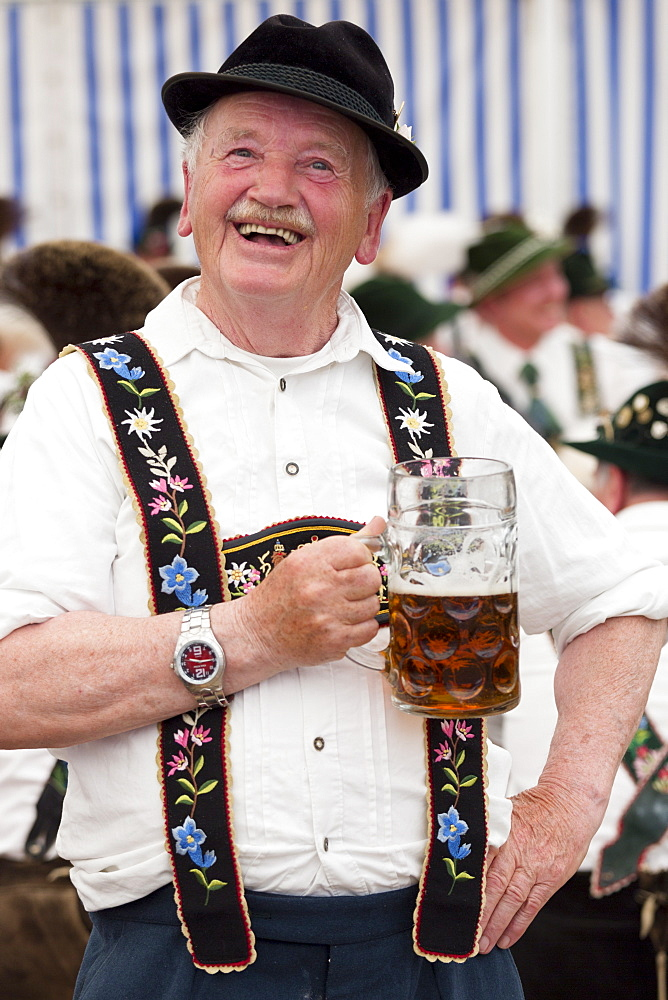 Villager at beer festival in the village of Klais in Bavaria, Germany, Europe