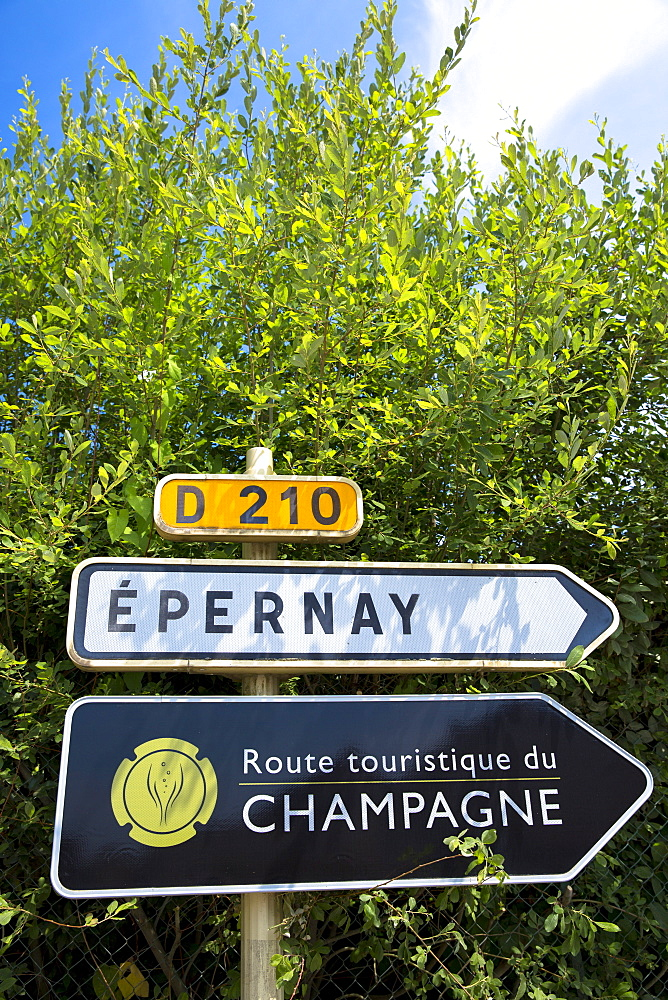 Sign for Epernay, D210 and the Tourist Route of Champagne (Route Touristique du Champagne), Champagne-Ardenne region, France, Europe