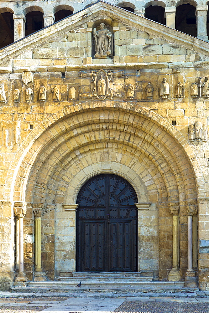 Doorway of Colegiata Santillana (St. Juliana's Collegiate Church) in Santillana del Mar, Cantabria, Northern Spain, Europe