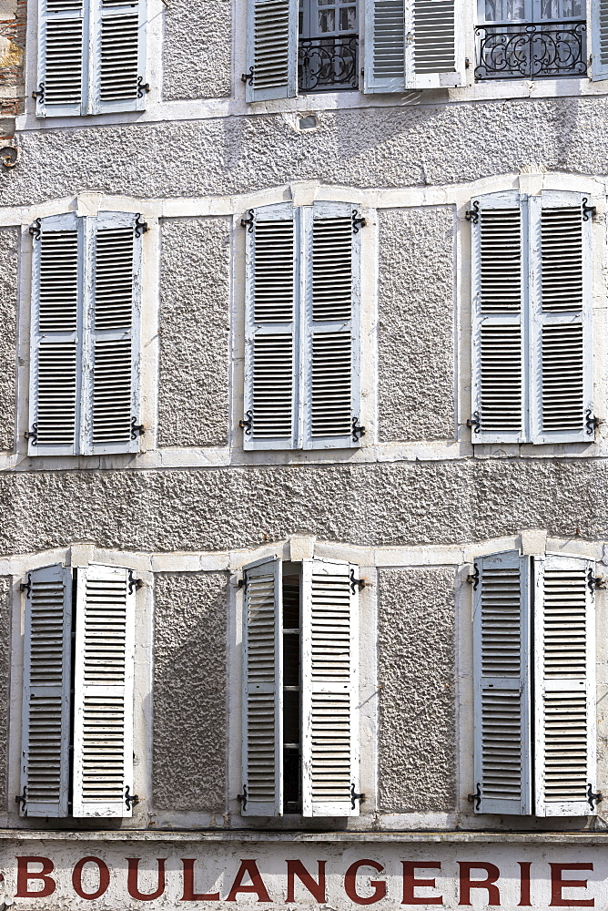 Window shutters above traditional Boulangerie bread shop in Pau, Pyrenees, France, Europe