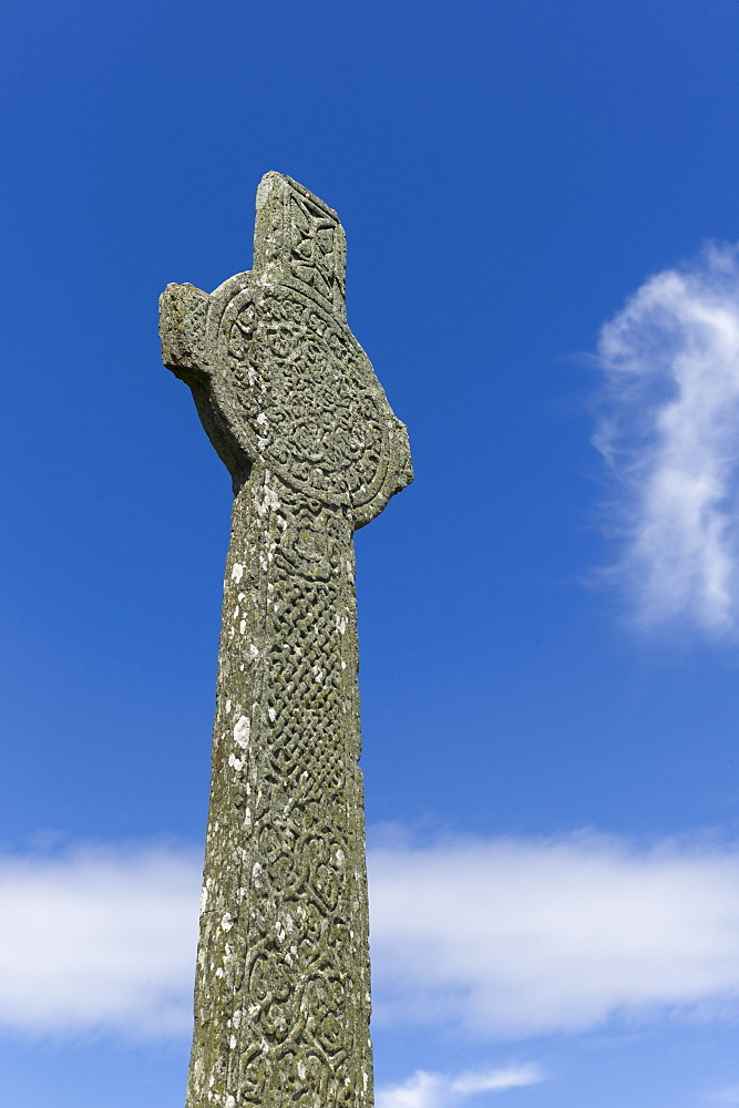 Maclean's medieval Celtic pilgrim cross, a 16th century monument on the Isle of Iona, Inner Hebrides and Western Isles, Scotland, United Kingdom, Europe