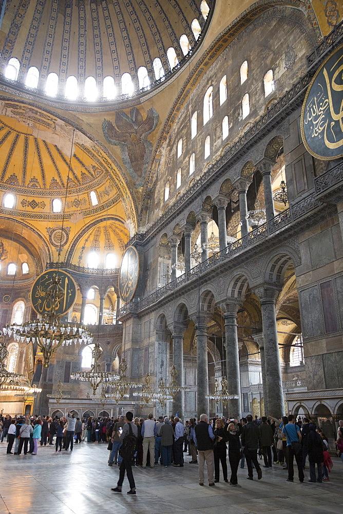 Tourists at Hagia Sophia (Aya Sofya), UNESCO World Heritage Site, mosque museum in Istanbul, Turkey, Europe