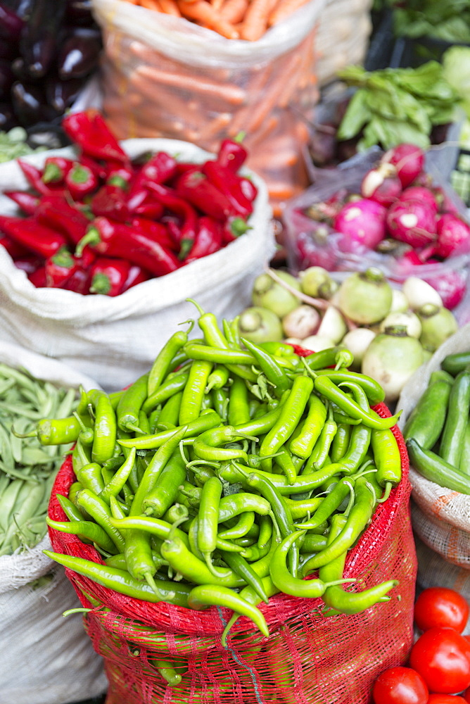 Green and red chillies on display for sale at food and spice market in Kadikoy district on Asian side of Istanbul, Turkey, Asia Minor, Eurasia