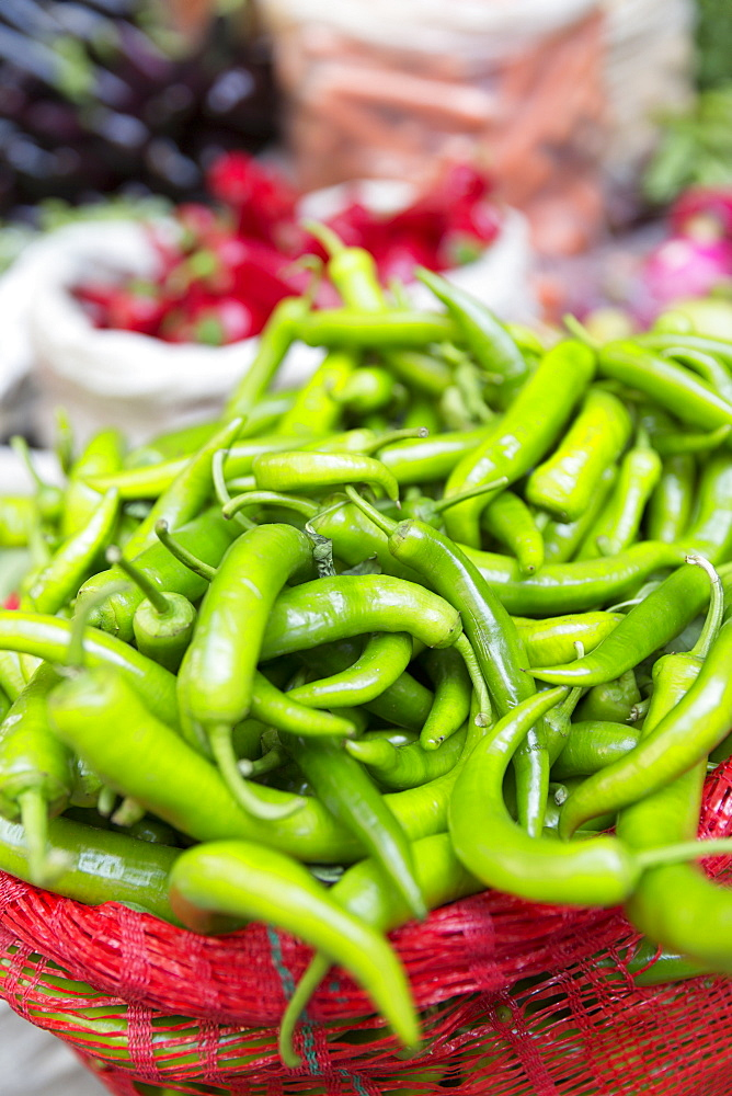 Green chillies on display for sale at food and spice market in Kadikoy district on Asian side of Istanbul, Turkey, Asia Minor, Eurasia