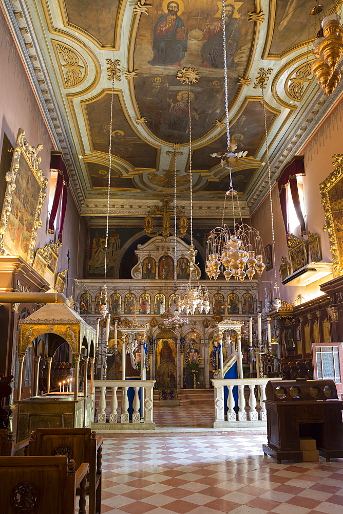 Ornate Greek Orthodox church with religious icons at Paleokastritsa Monastery, dating from the 13th century in Corfu, Greek Islands, Greece, Europe - 1161-8661
