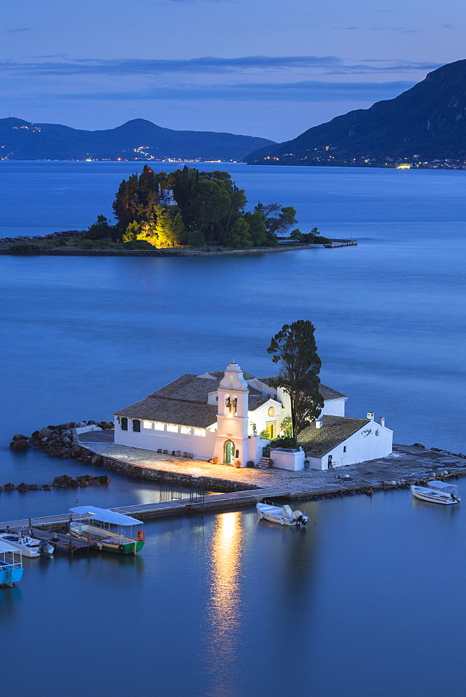 Famous monastery convent of Panagia Vlahernon off Kanoni Peninsula in Kerkyra, Corfu, Ionian Islands, Greek Islands, Greece, Europe - 1161-8674