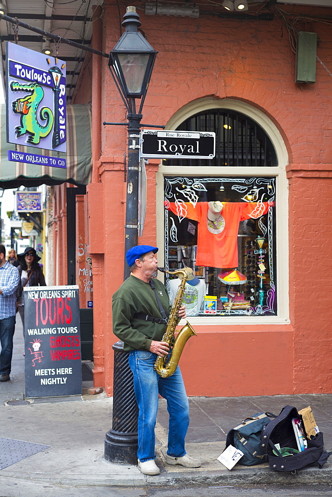 Jazz musician saxophonist plays saxophone in live performance on street corner, Royal Street, French Quarter, New Orleans, USA - 1161-8705