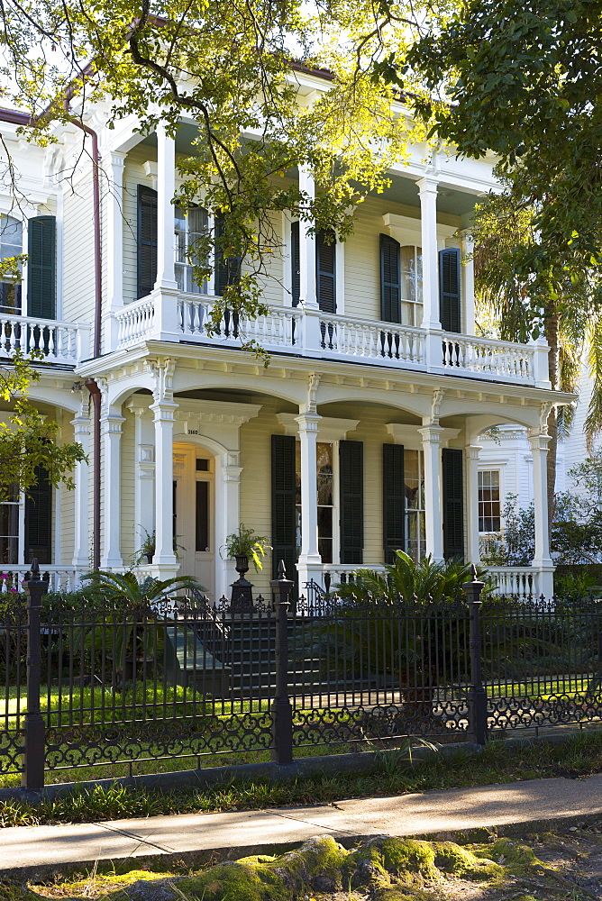 Neo-classical clapboard grand house with double gallery and columns in the Garden District, New Orleans, USA - 1161-8727