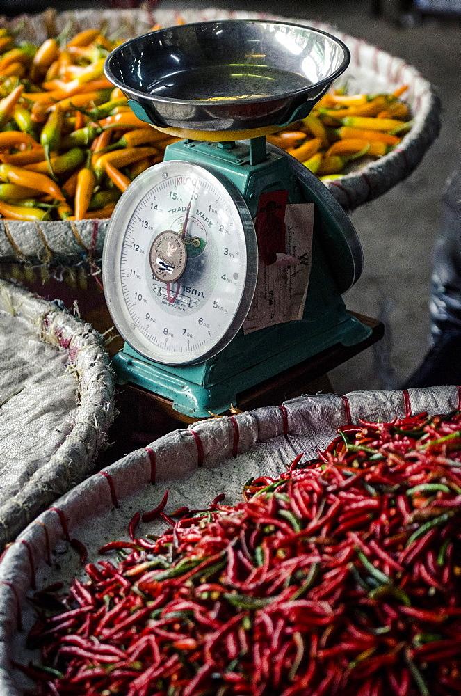 Chillies, Pak Khlong Market, Bangkok, Thailand, Southeast Asia, Asia  - 1163-34