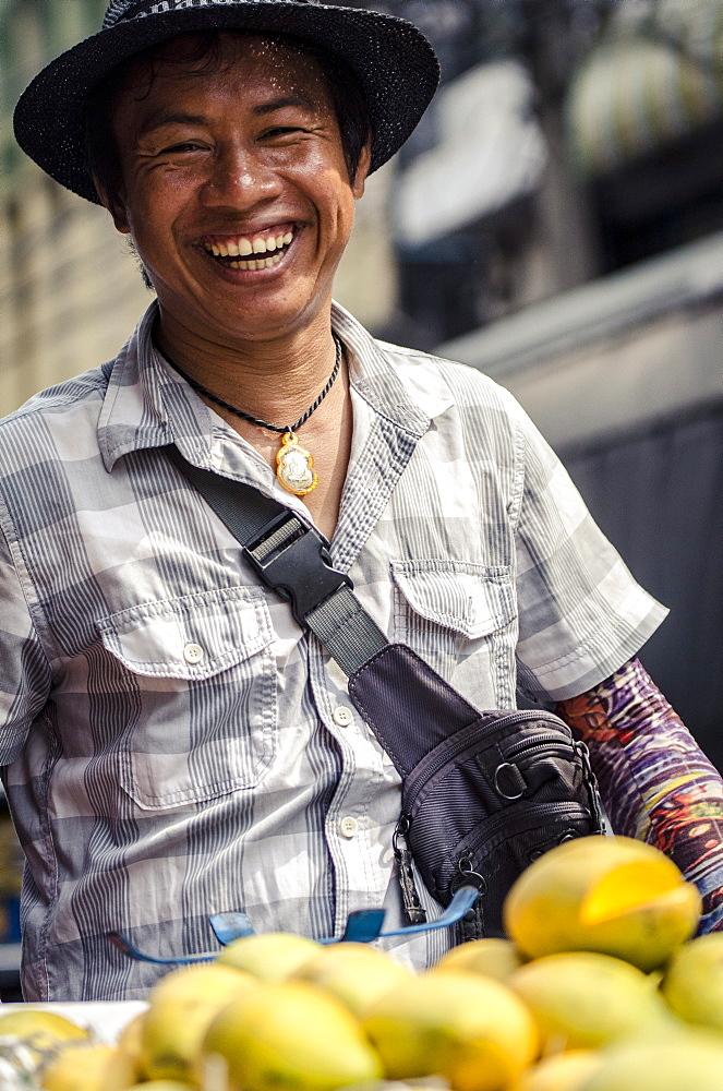 Mango seller, Chinatown, Bangkok, Thailand, Southeast Asia, Asia - 1163-35