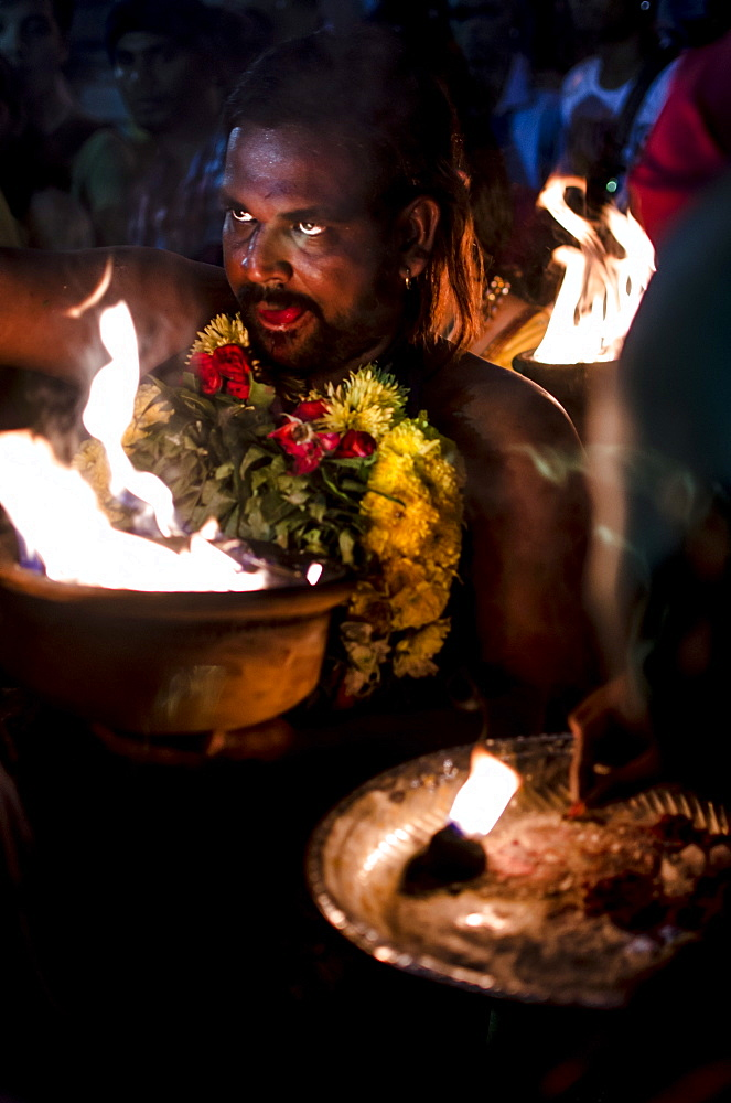 A devotee partcipiating in Thaipusam festival, Batu Caves, Kuala Lumpur, Malaysia, Southeast Asia, Asia