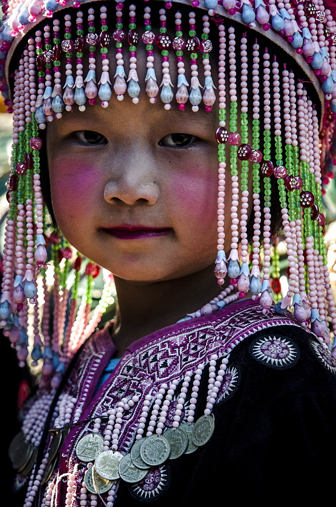 A girl in traditional hilltribe costume, Wat Phra That Doi Suthep, Chiang Mai, Thailand, Southeast Asia, Asia - 1163-43