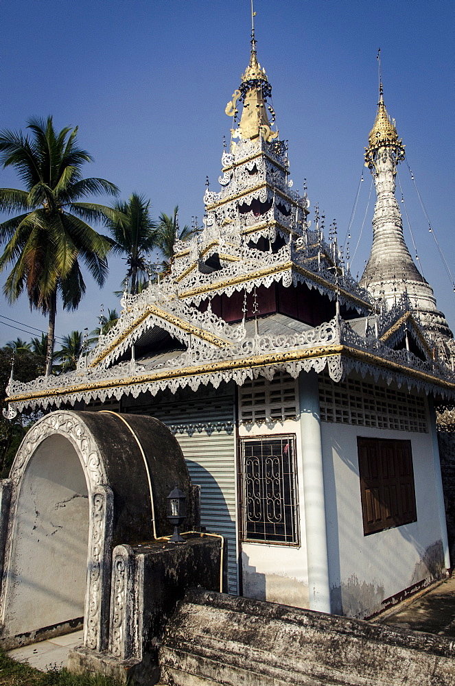 Temple opposite Wat Jong Klang and Kham, Mae Hong Son Province, Thailand, Southeast Asia, Asia  - 1163-51