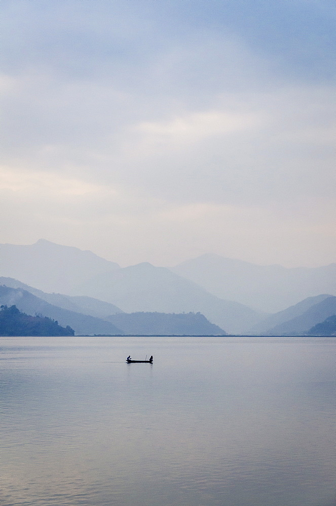 A rowboat on Phewa Tal (Phewa Lake), Pokhara, Nepal, Asia  - 1163-59