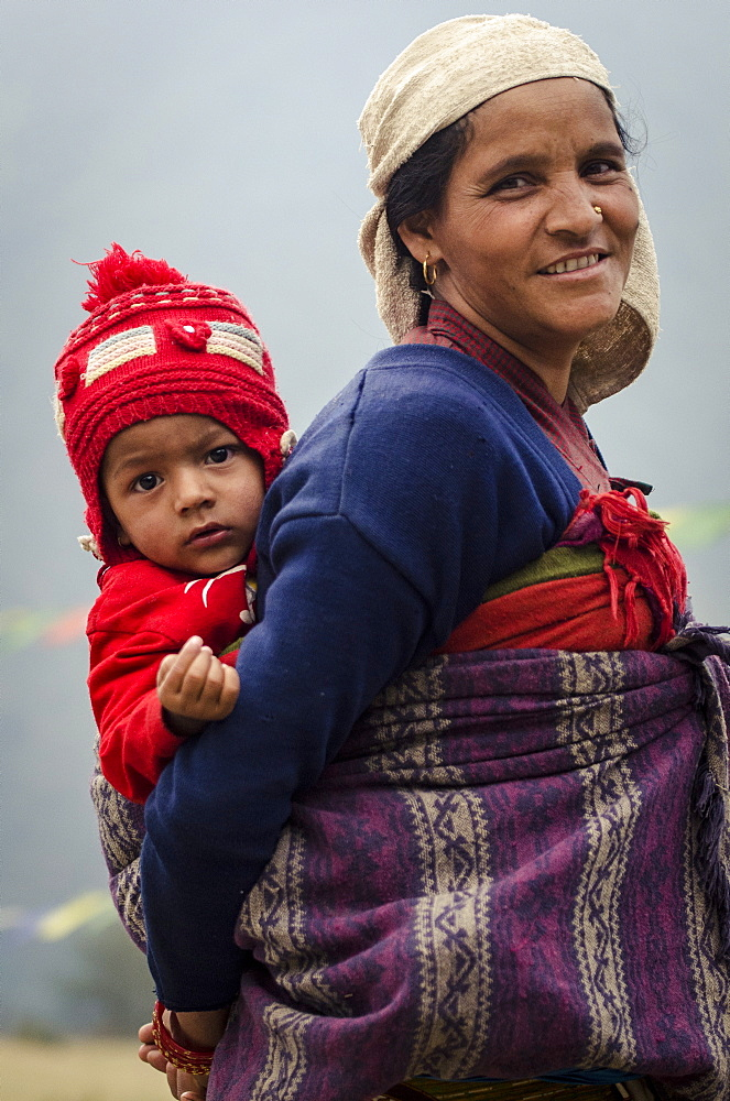 Mother and son, Ghandruk, Annapurna Conservation Area, Nepal, Asia - 1163-67