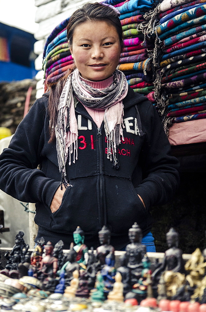 A Tibetan wool and jewellery seller, Tadapani, Annapurna Conservation Area, Nepal, Asia - 1163-69