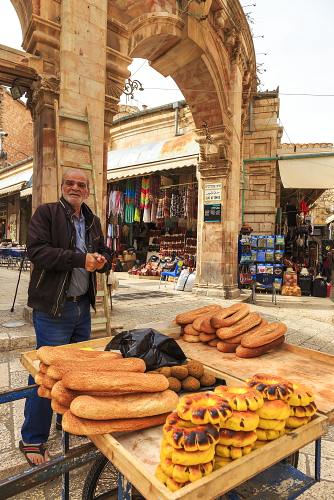 Bread seller with cart, Aftimos Souk, Mauristan, Christian Quarter, Old City, Jerusalem, UNESCO World Heritage Site, Israel, Middle East