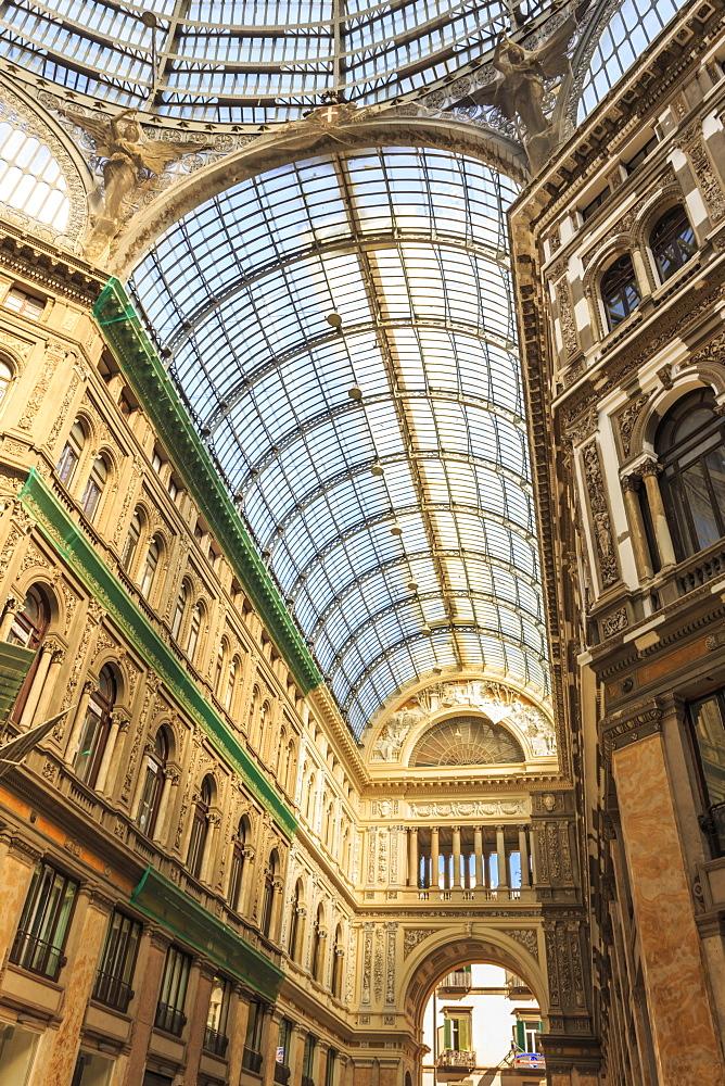 Morning light illuminates the Galleria Umberto I arcade, 1890, through its spectacular glass vaulted roof, City of Naples, Campania, Italy, Europe
